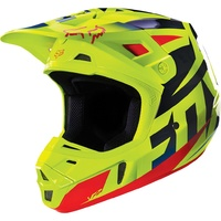 Fox V1 Race Blue/Yellow Size Small Helmet